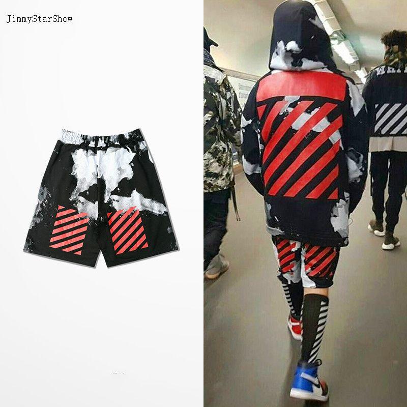 7de6944db8b4 New Hip-hop Dark High Street Men Shorts Off White Stripe Splash-ink Trousers
