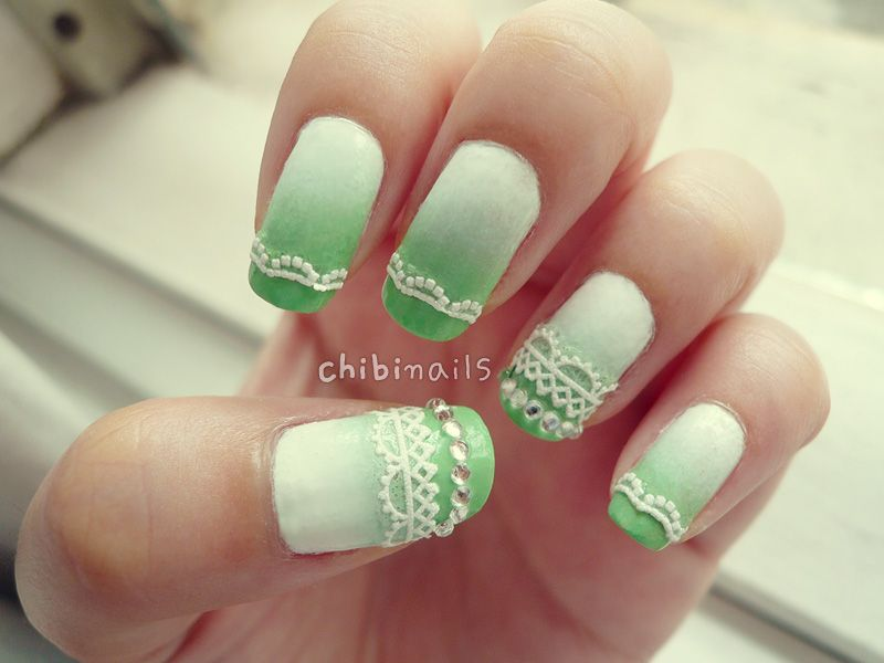 White to green ombre nails with lace stickers :) This coincidentally ...