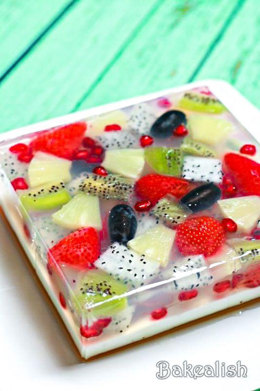 Jelly Fruit Cake - The Best Tropical Agar Agar Jelly Fruit Cake Recipe