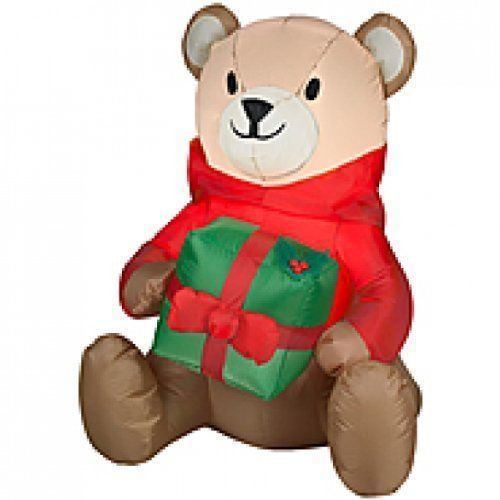 Teddy Bear With Present Christmas Inflatable 3 Ft Outdoor Holiday - inflatable christmas yard decorations
