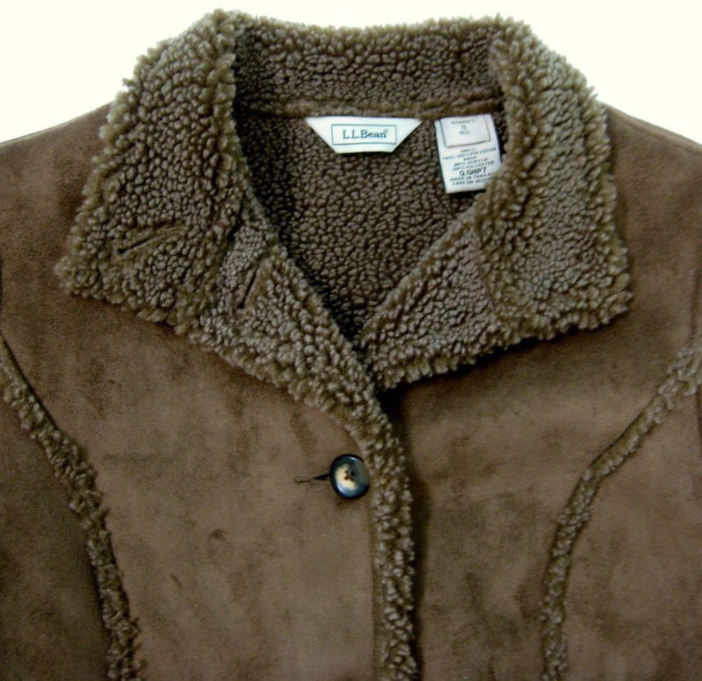 cd5dd0ec668 L.L. Bean Jacket Women s Sz Small Faux Suede Shearling Sherpa Brown Winter  Coat  LLBean  BasicJacket
