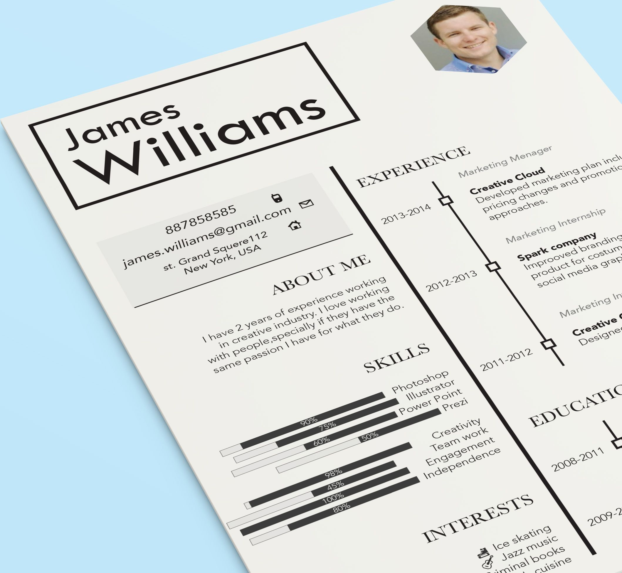 Creative resume design template by CVdesign. Find us on Etsy ...