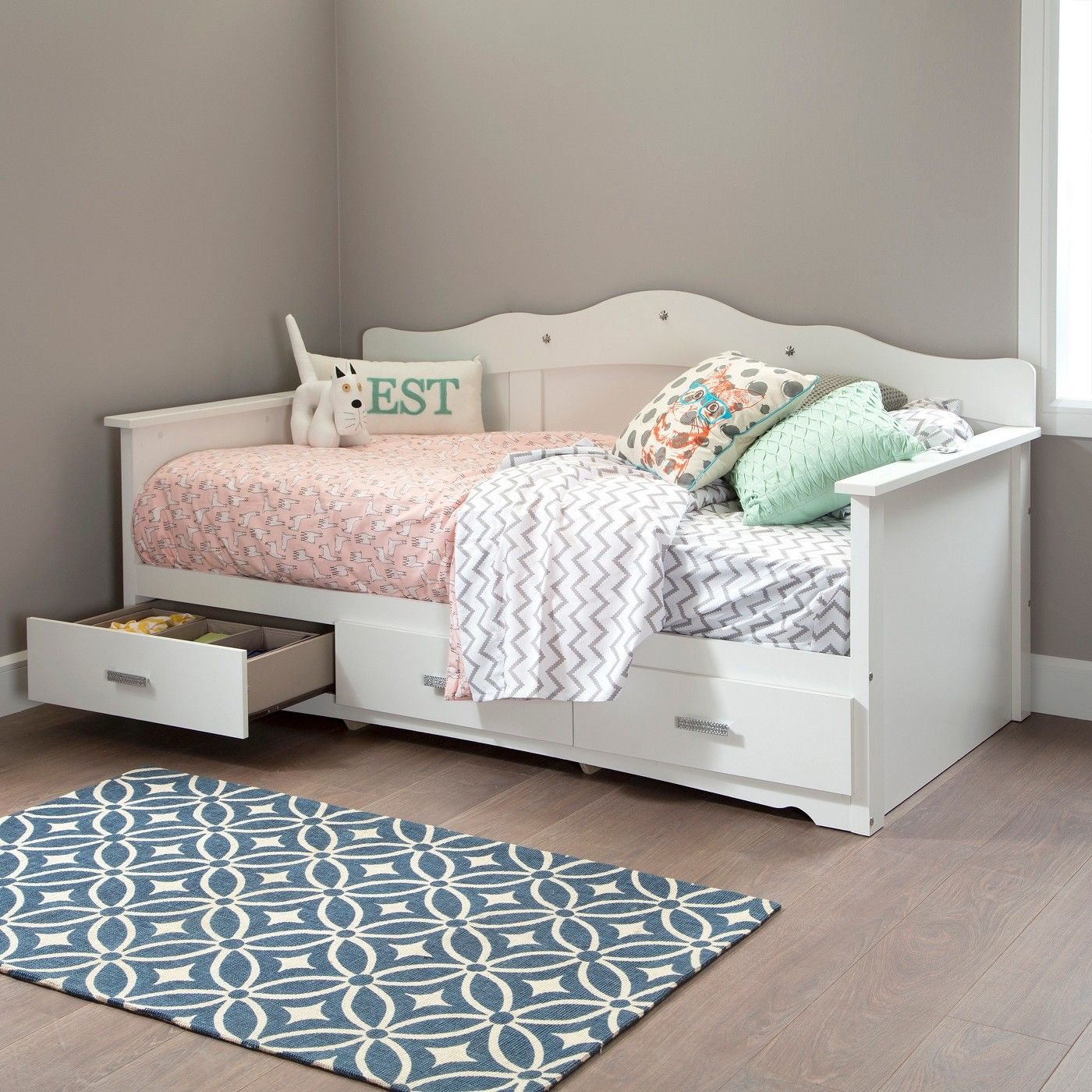 "Tiara Twin Daybed with Storage 39"" Pure White South"
