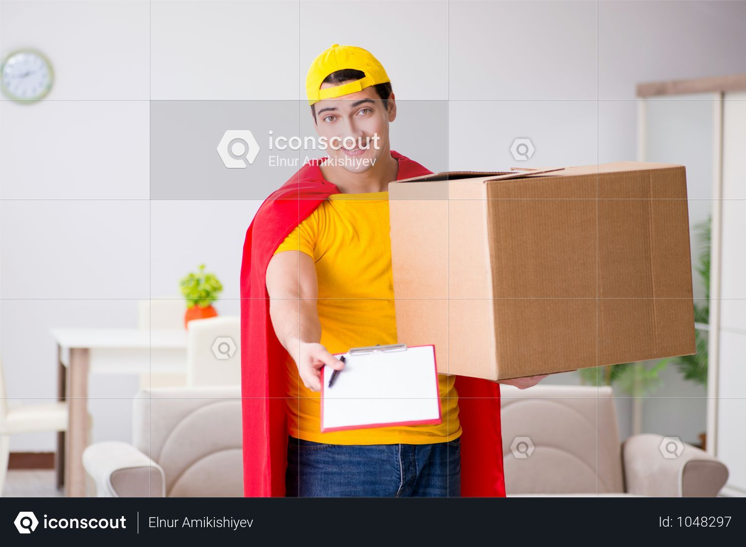 Premium Superhero Delivery Guy With Box Photo Download In Png Jpg Format Delivery Photos Superhero Guys