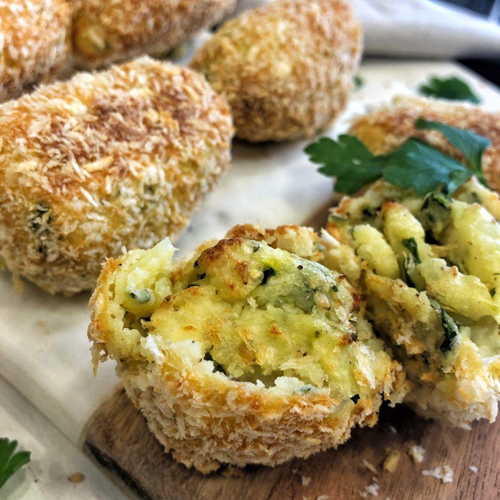 Croquetas De Patata Calabacín Y Queso Crema Recetas Juan Llorca Croquetas De Patata Alimentacion Complementaria Tortitas De Calabacin