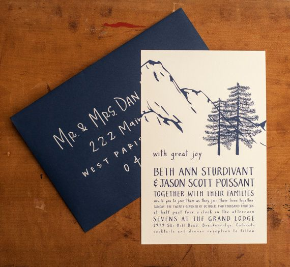 mountain wedding invitation, rustic wedding invitation, woodland,
