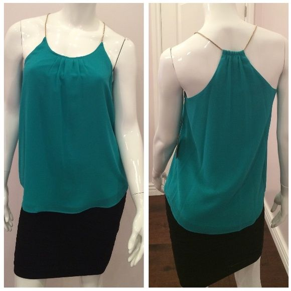 Chain Strap Racerback Top Brand new, tag on. Retail $69 plus tax. Color as shown : Malachite . Also available in black. Rachel Roy Tops