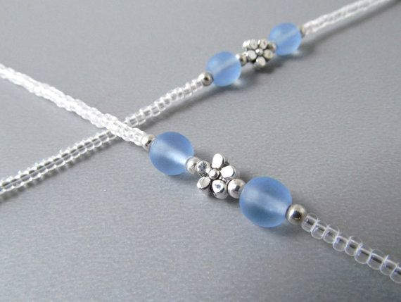 ed474aeedd68 Clear Eyeglass Holders Necklaces - For Women - Blue Eyeglass Chains -  Reading Glasses Chain - Eye Glass Chain - Glasses Lanyard