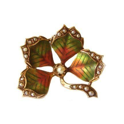 Art Nouveau 10K Gold Enamel Seed Pearl Flower Pin- I LOVE THIS!!