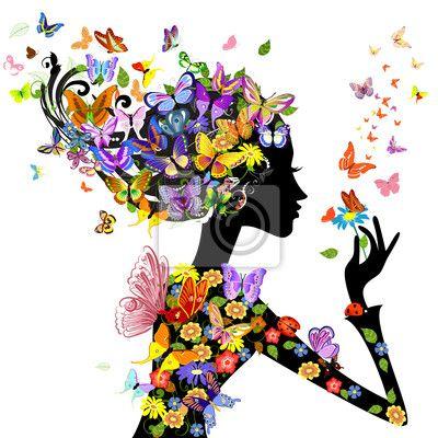 Fototapete Mädchen Mode Blumen mit Schmetterlingen