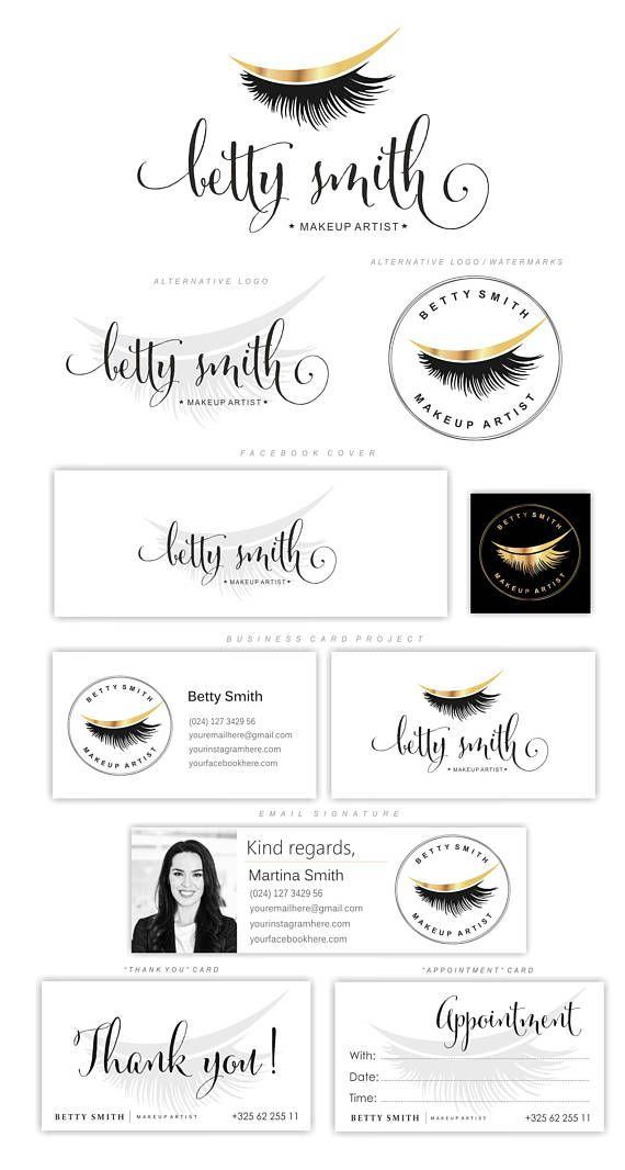 Photo of Lashes logo, Eyelash extension logo, Cosmetics logo, Branding Kit, Lash Make up logo, Logo Design, Beauty salon, Gold foil package 154