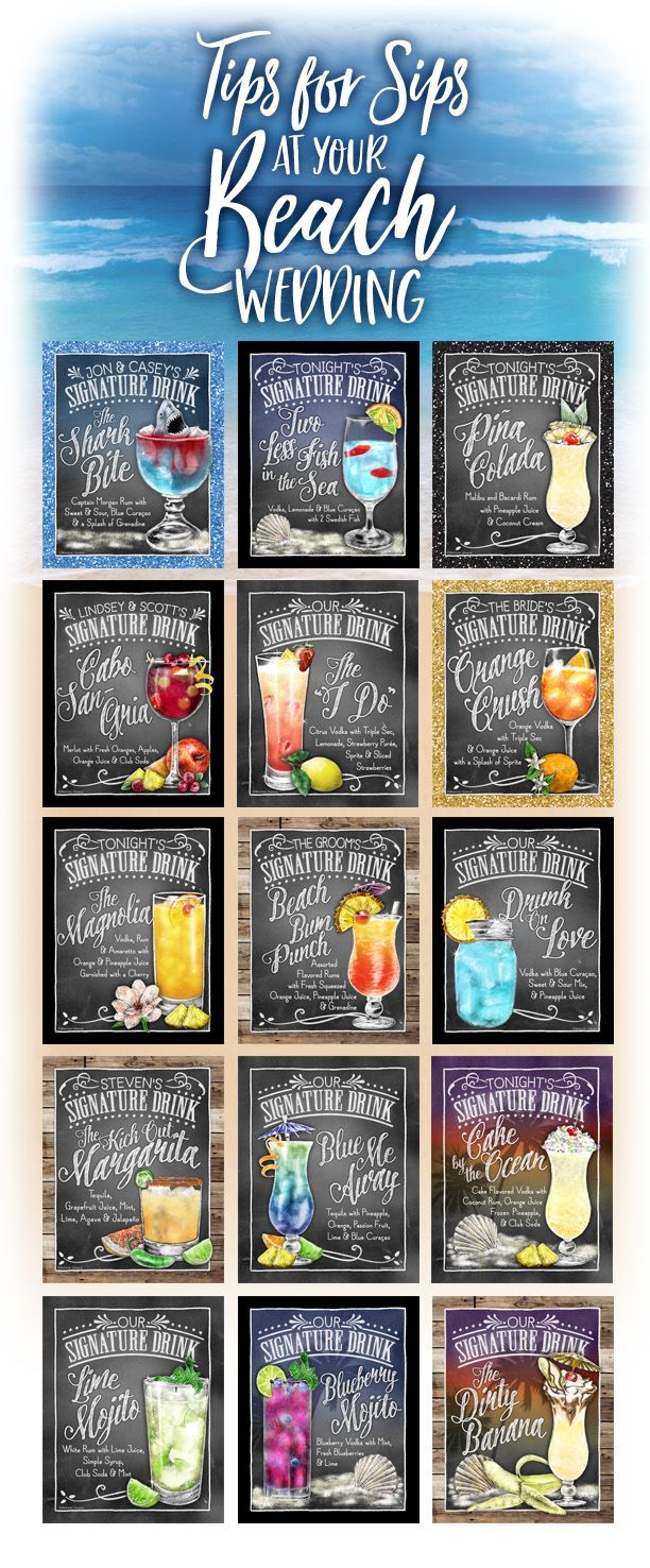 Two Less Fish in the Sea Drink Sign | Printable Signature Drink Sign for Destination Beach Wedding, Blue Drink, Chalkboard Sign Download