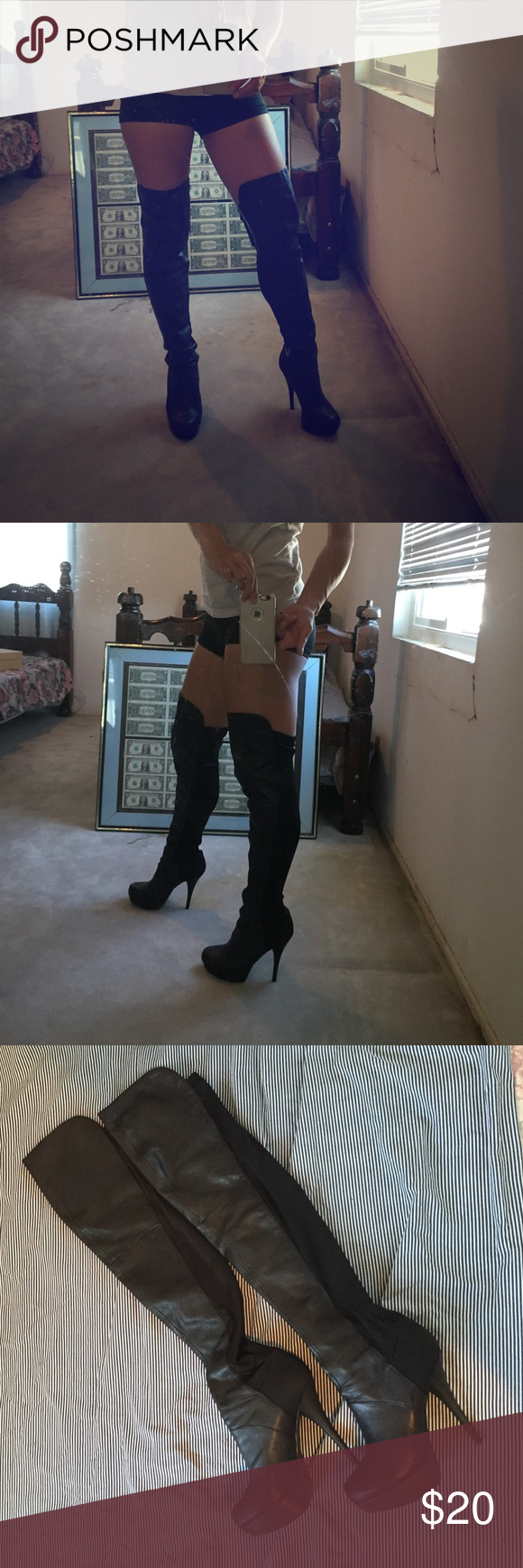 Steve Madden leather OTK over knee boot SZ 8 Black OTK (over the knee) leather boots about 6 inches high with front platform. These boots slide on and off very easily because of the fabric on the calf part. I wore them no more than 5 times.. in great condition! Steve Madden Shoes Over the Knee Boots