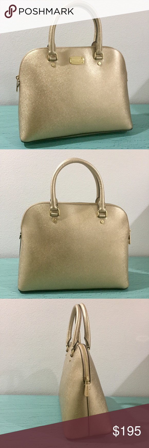 6013c71e827ffc NWT: Michael Kors Cindy Gold Bag Michael Kors, LG, pale gold, Cindy bag.  Dimensions: H9.5 x D5 x L13 saffiano leather. Not over the top gold.