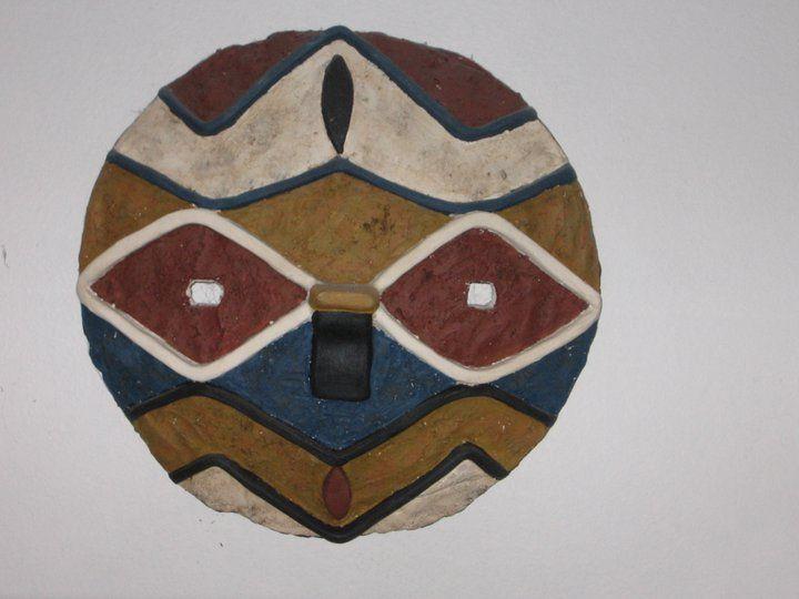 Máscara africana, óxidos y esmaltes.