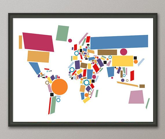 Abstract map of the world map art print 803 mapas muchas y deberes abstract map of the world map art print 803 gumiabroncs Image collections