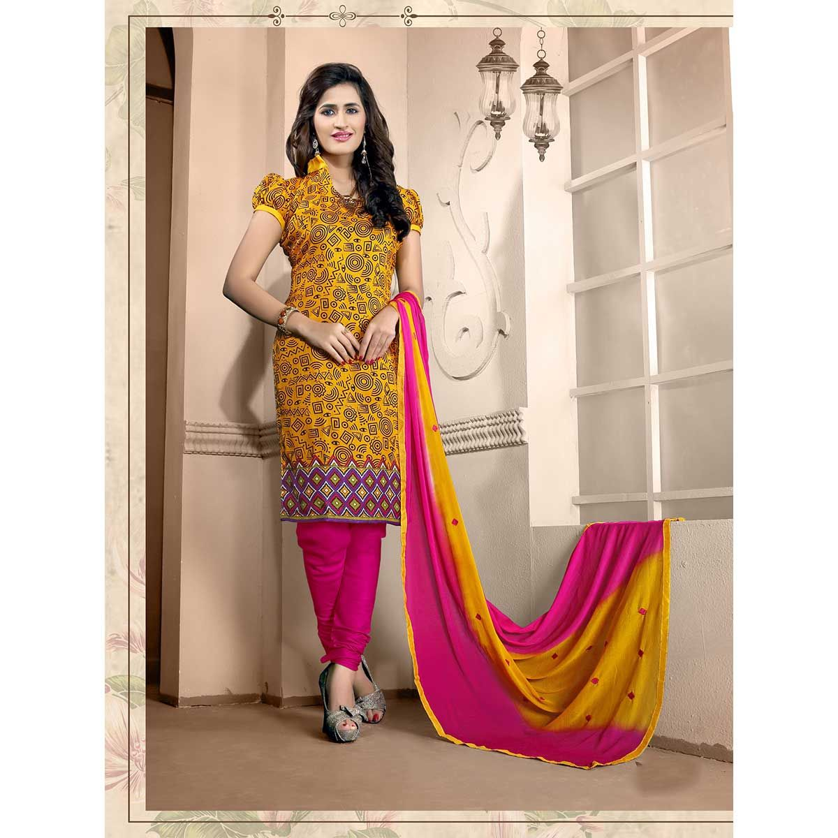 http://www.thatsend.com/ate/shopping/lp/fvp/TESG96368/i/TE116500/iu/yellow-silk-churidar-salwar-kameez  Yellow Silk Churidar Salwar Kameez Apparel Pattern Printed. Stiching Type Unstitched. Work Print. Occasion Festive. Top Color Yellow.
