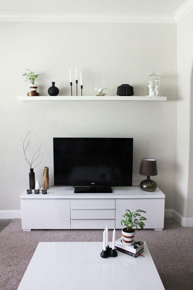 kleines wohnzimmer einrichten tv sideboard weiß schwebendes - einrichtungsideen wohnzimmer weis