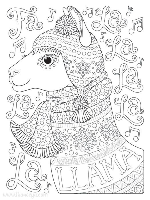 Fa La La La La La La Llama Coloring Page By Thaneeya Christmas Coloring Pages Coloring Pages Animal Coloring Pages