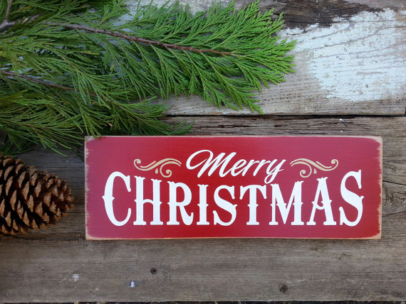 MERRY CHRISTMAS Wooden Sign. Painted Christmas Sign. by OlySignCo