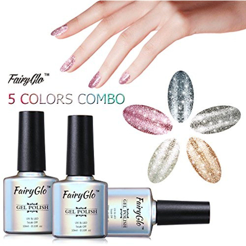 Fairyglo 5 Colour Combo Platinum Gel Nail Polish Uv Led Soak Off