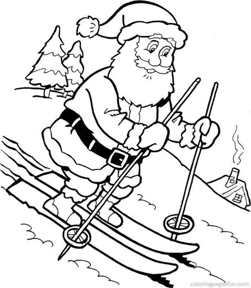 Santa Skiing Coloring Page