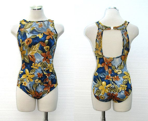 Vintage 70s Swimsuit / 1970s Swimsuit / Hawaiian Floral Bathing Suit / Maillot / One Piece / Blue Swimsuit / Mad Men / Land's End / Size S