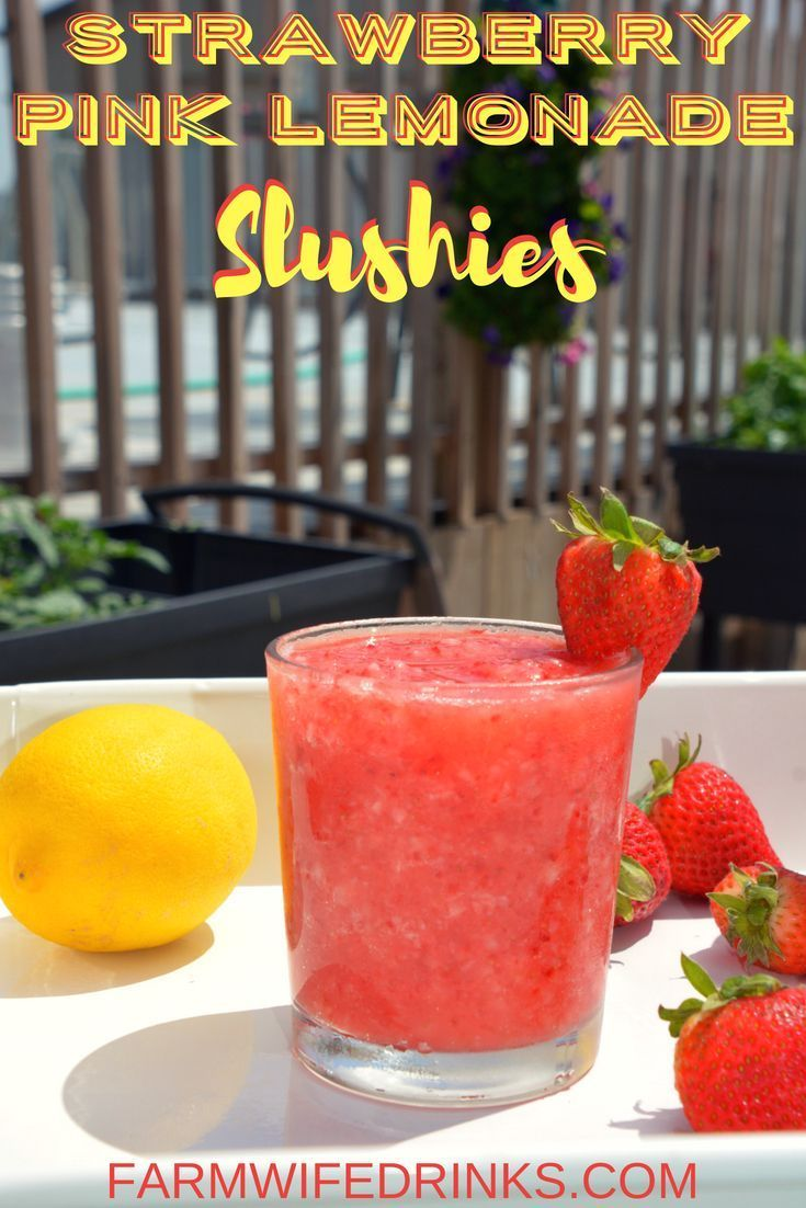 Strawberry Pink Lemonade Slushies combine frozen strawberries with pink lemonade to make a great, refreshing frozen mocktail for the kids and adults to enjoy all day long. #frozenlemonade #slushie #strawberry #lemonade #lemonadepunch