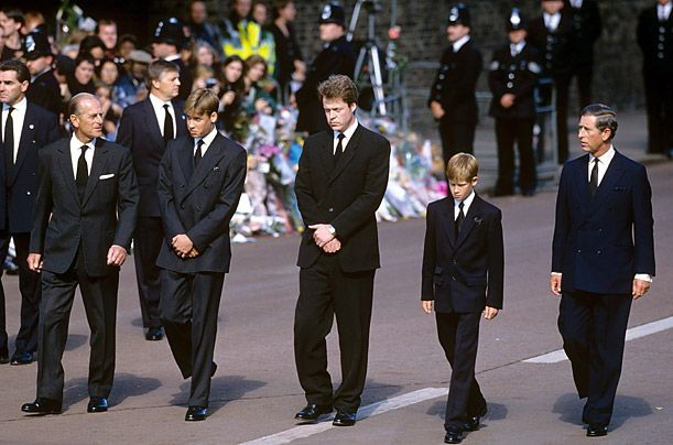 Prince Philip, Prince William, Diana's brother Earl Spencer, Prince Harry and Prince Charles walk behind Diana's coffin at her funeral.