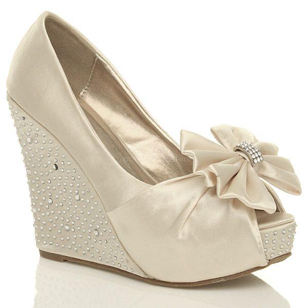 Low Wedges Heels Wedding Shoe | ... Wedding Evening Bridal High Heel Wedge  Platform