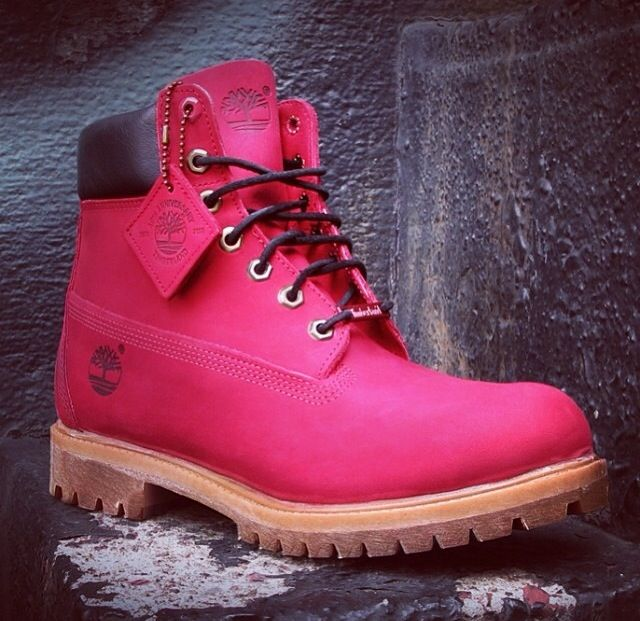 pink timberland style boots