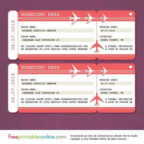 This free printable boarding pass save the date template is an - free pass template