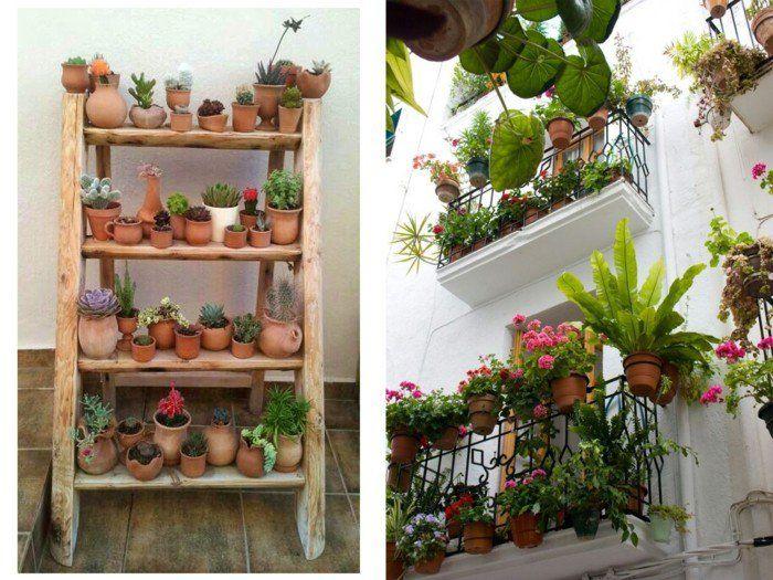 Balkon Gestalten Tipps Balkonpflanzen Holztreppe Diy Idee ... Balkon Gestalten Tipps Tricks