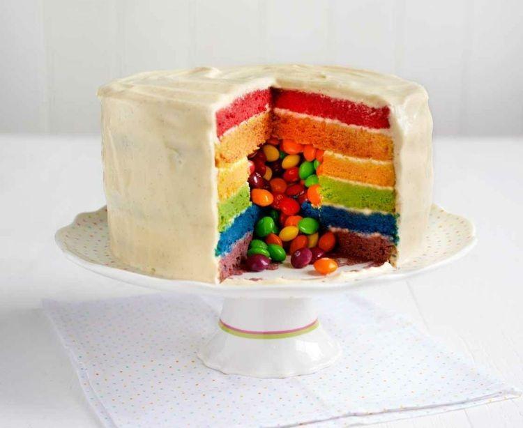 Photo of Regenbogenkuchen Rezept mit und ohne Smarties zum Nachbacken