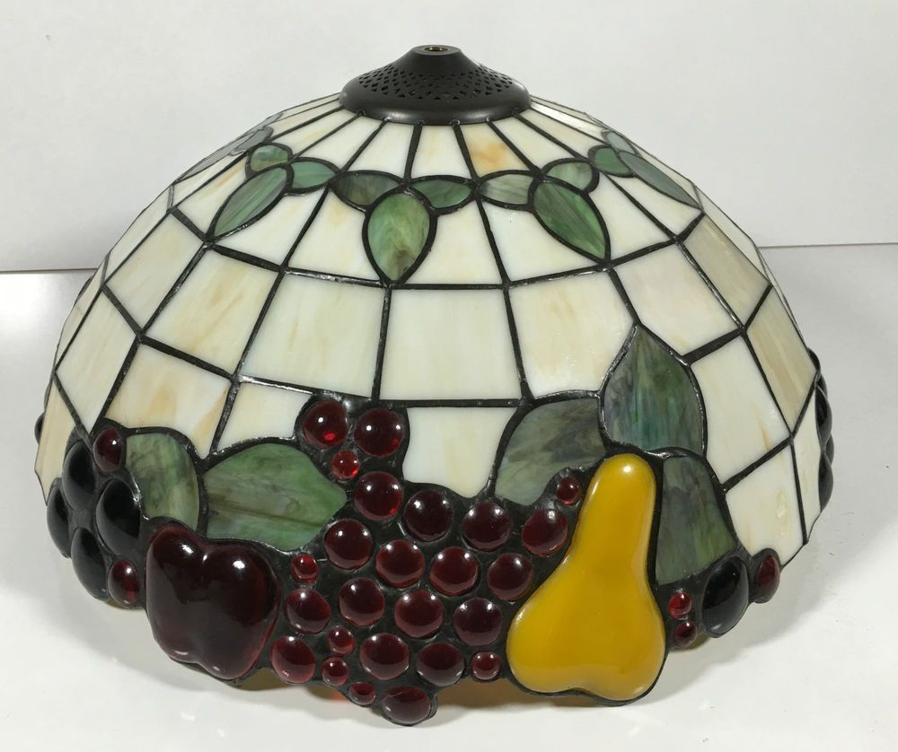 Vintage tiffany style stained leaded glass fruit lamp shade light vintage tiffany style stained leaded glass fruit lamp shade light fixture 16 ebay mozeypictures Gallery