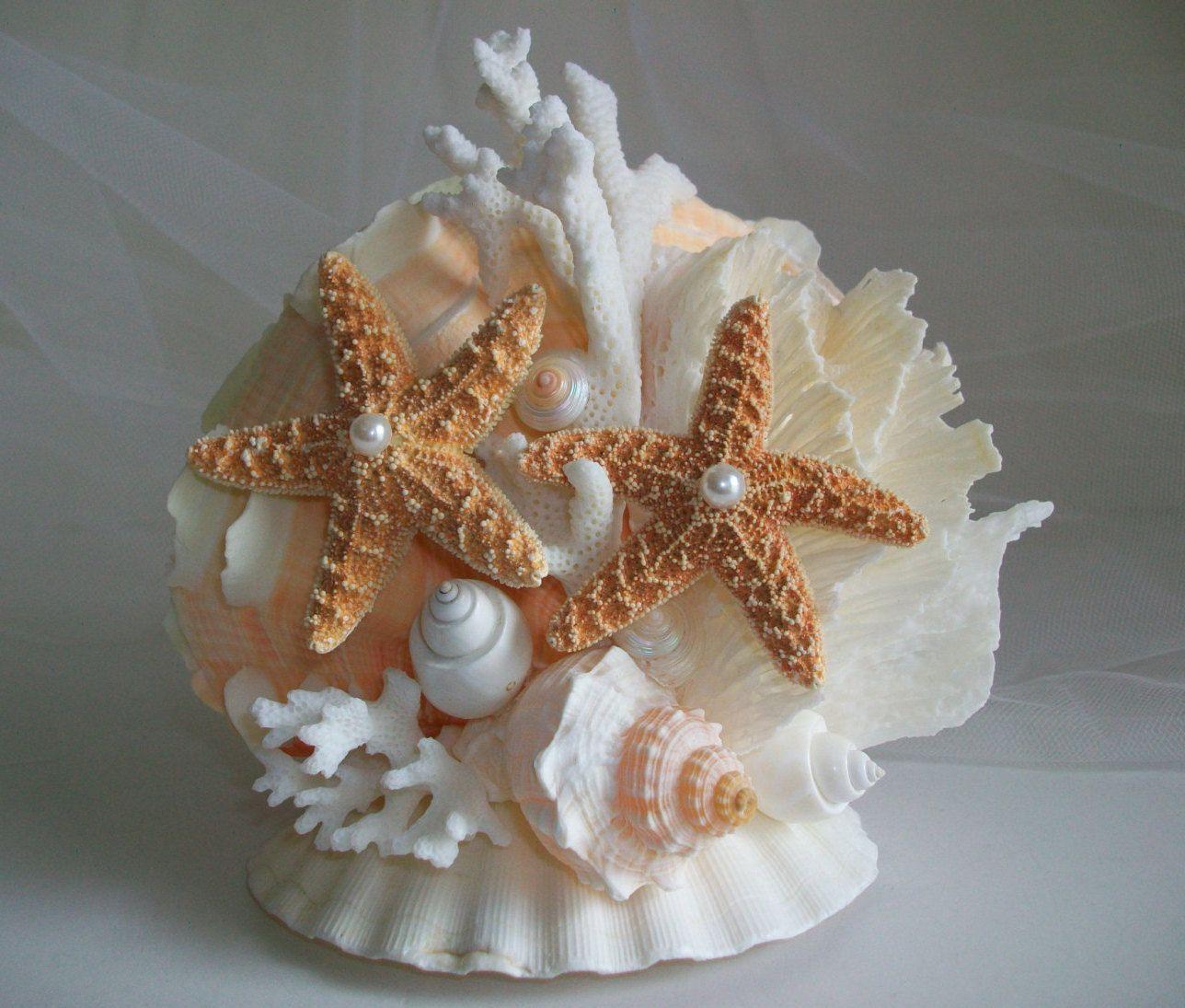 1 Of A Kind Wedding Cake Topper Seashell Beach