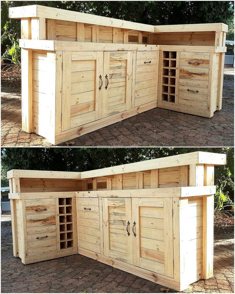 Now See A Huge Repurposed Wood Pallet Bar Idea, It Contains Space To Store  The