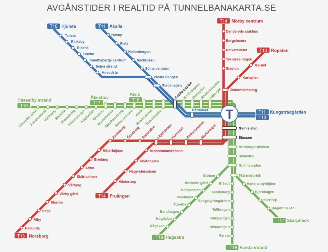Tunnelbana Stockholm Map Stockholms Tunnelbana Karta