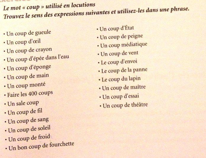Expressions avec le mot coup french fran ais fle polyglotcoach polyglotcoach twitter - Expression avec le mot coup ...