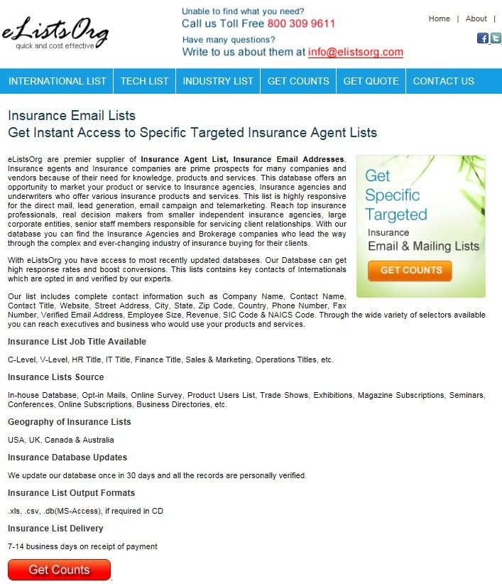 Usa Insurance Agents Email Lists Database Http Www Elistsorg