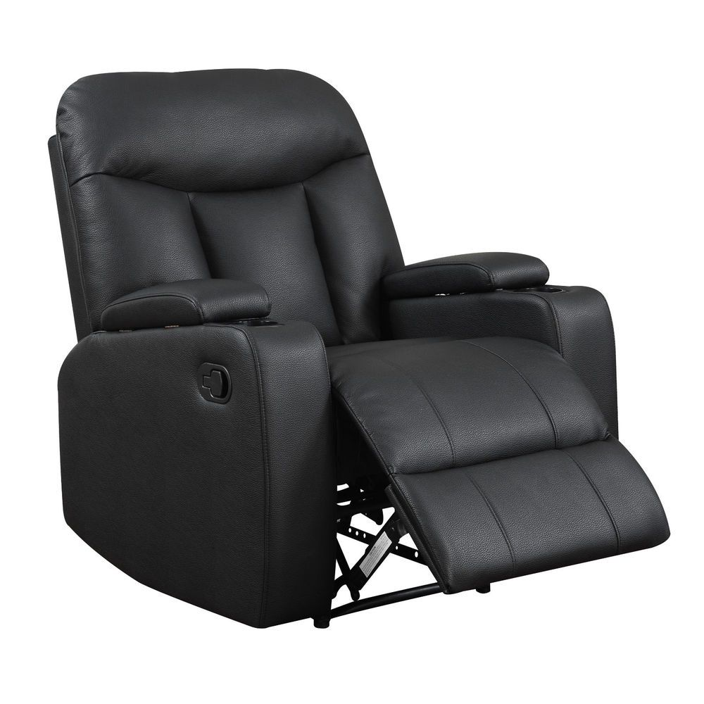 Leather Recliner Chair Dual Arm Storage Cup Holders Black Synthetic Lounger  Seat #Portfolio