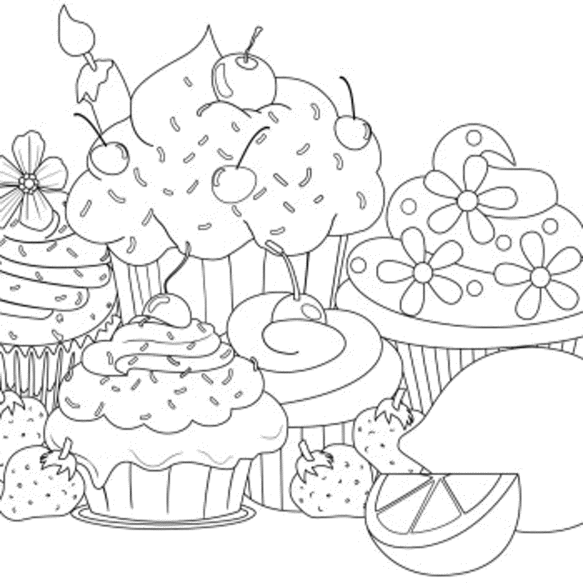 cupcakes coloring page | Color Art Therapy - Food And Drinks ...