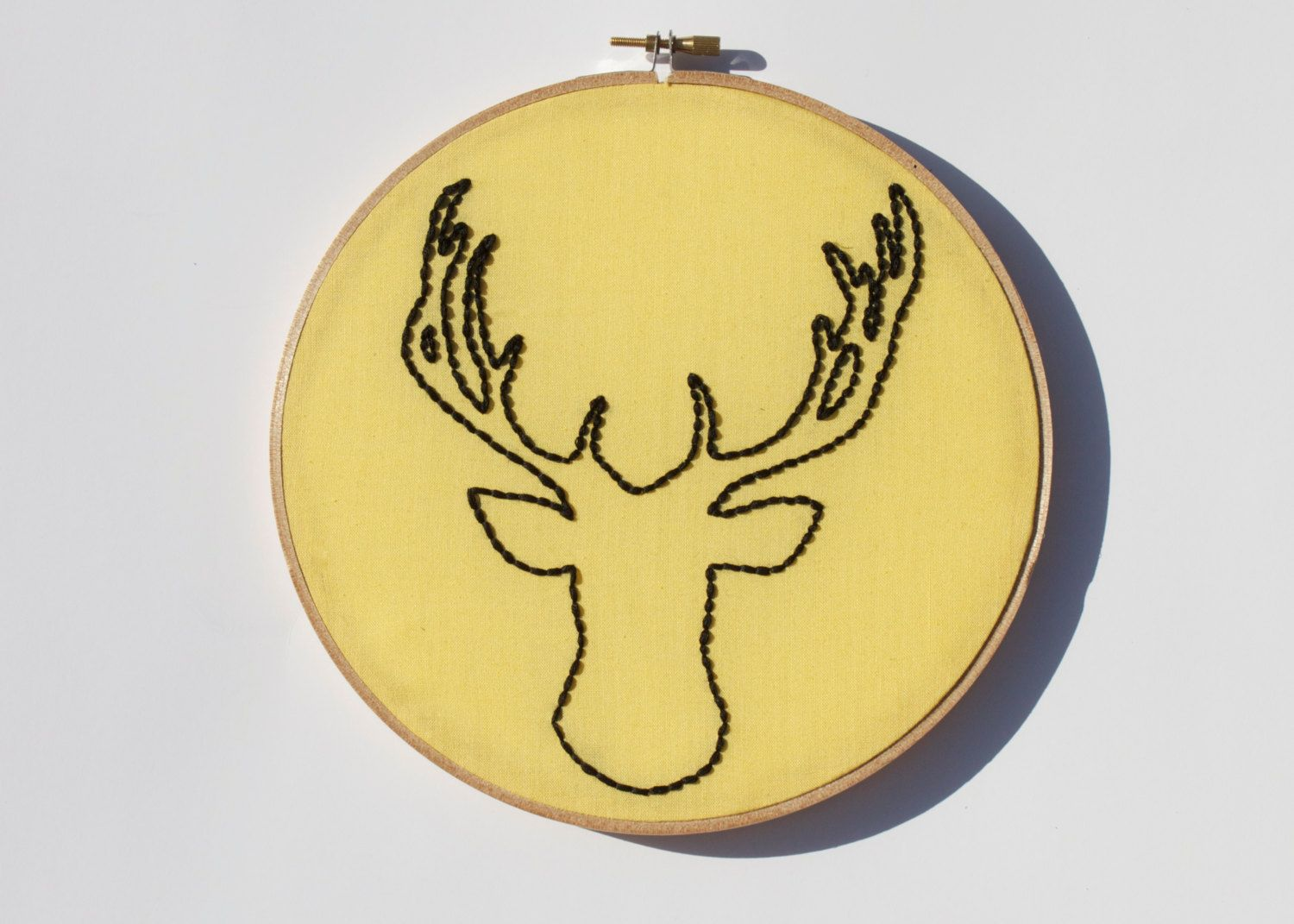 Stag Silhouette - Taxidermy Deer Silhouette - Embroidery Wall Art ...