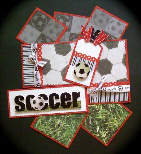 SOCCER Premade Scrapbook Page Mat Set *sewn*   eBay