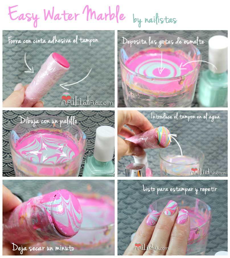 facil marmoleado o water marble | Uñas | Pinterest | Diseños de uñas ...