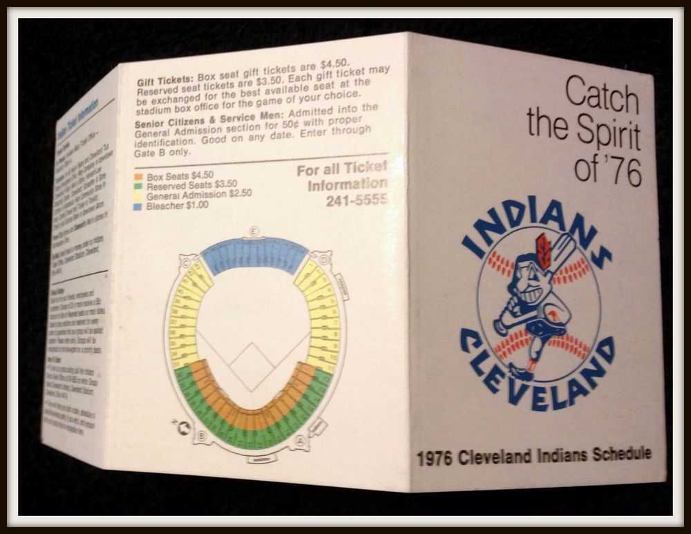 1976 CLEVELAND INDIANS OFFICIAL BASEBALL POCKET SCHEDULE EX+NM - baseball stats spreadsheet