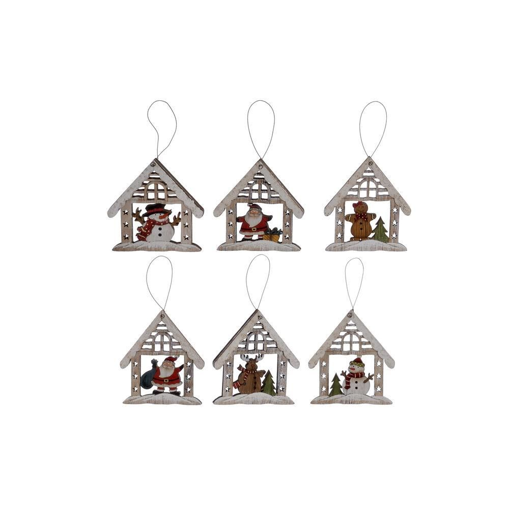 Hanging decoration DKD Home Decor Christmas White Wood (6 pcs) (10 x 10 x 11 cm)