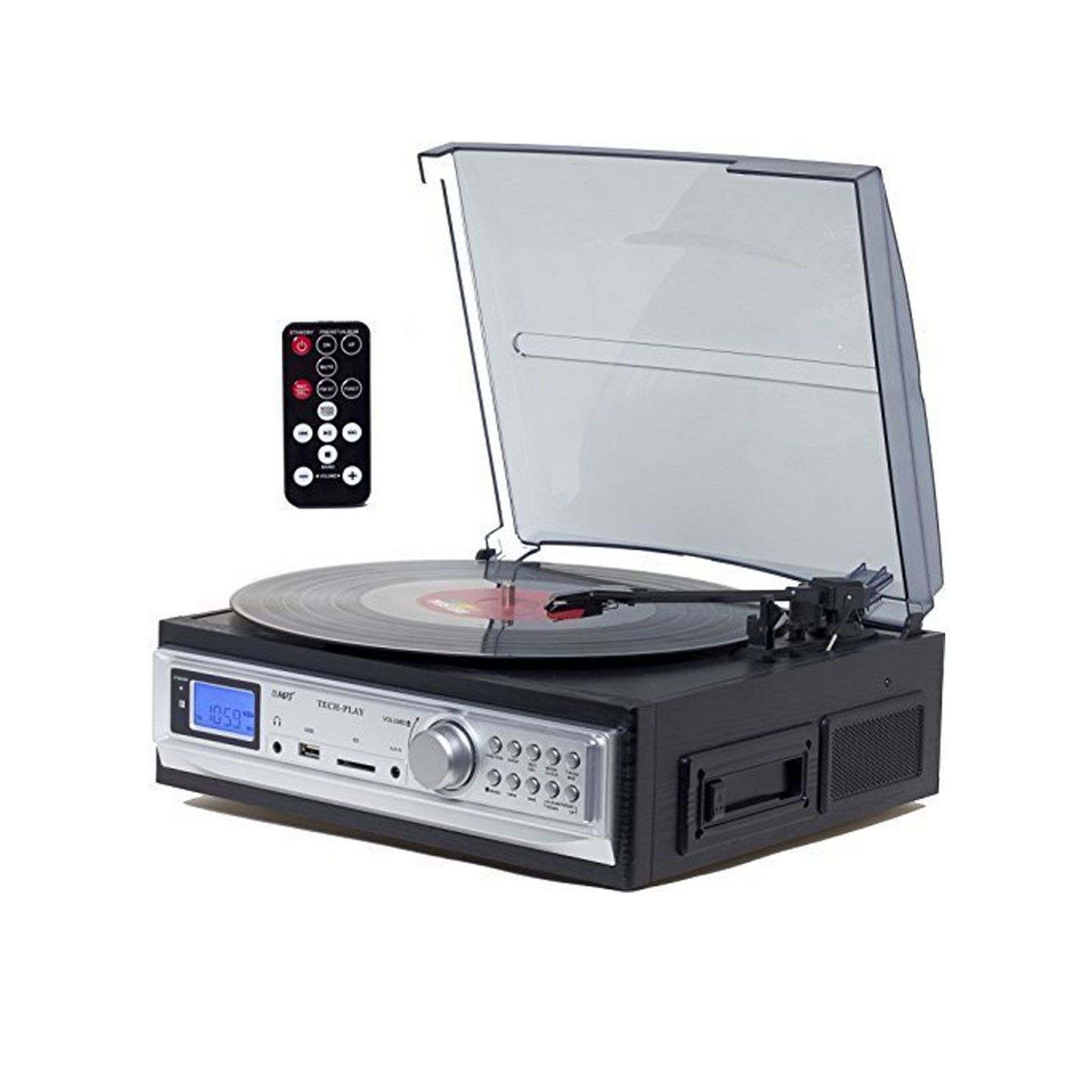3-Speed Stereo Turntable with MP3 Encoding System and AM//FM Stereo Radio Black
