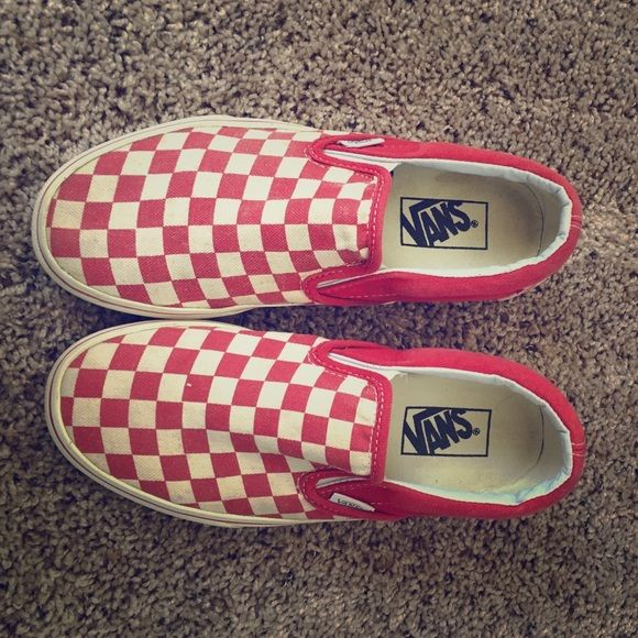 23125329b1 Selling this Vans Red and White Checkerboard Slip-On in my Poshmark closet!  My username is  katiediid12.  shopmycloset  poshmark  fashion  shopping   style ...