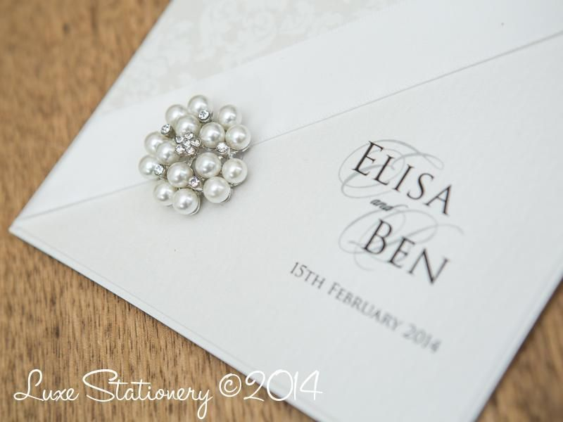 Pearl embellishments on #wedding #stationery - Find more like this ...